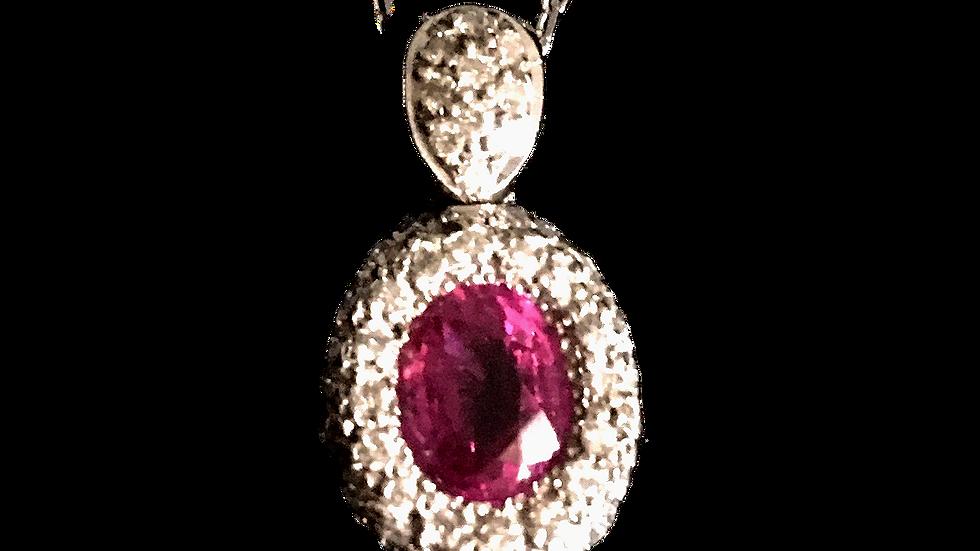 Platinum Ruby & Diamond Necklace