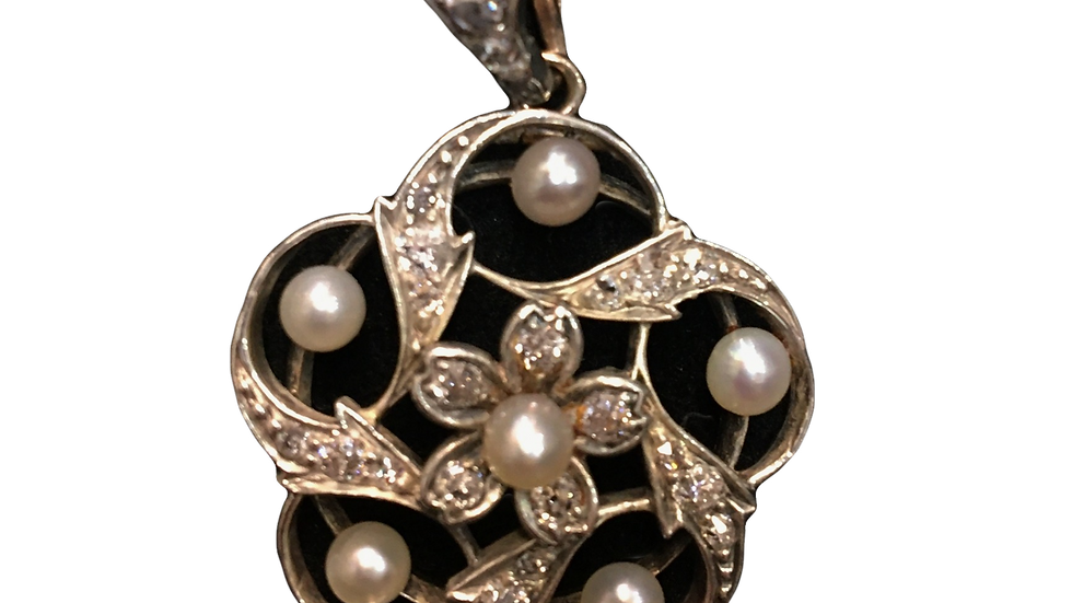 Platinum Diamond & Seed Pearl Necklace