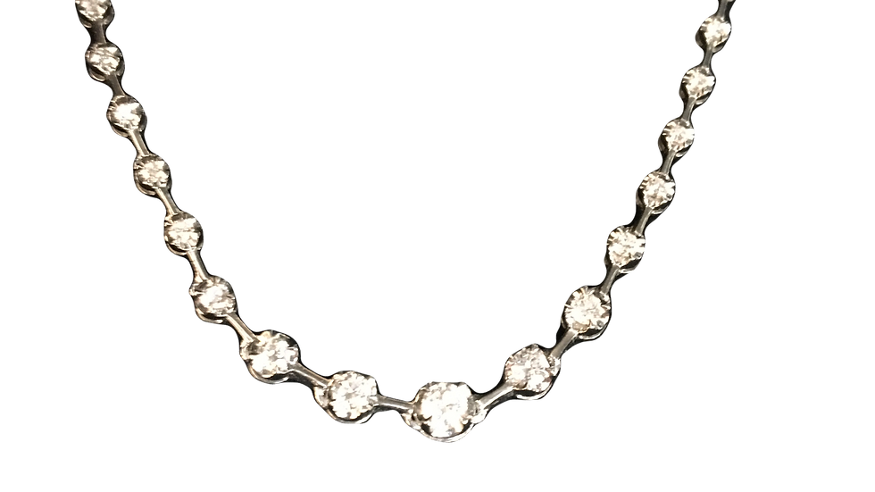 18ct White Gold Line Necklace