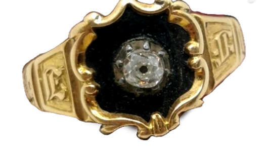 18ct Yellow Gold Antique Mourning Ring Hallmarked 1834