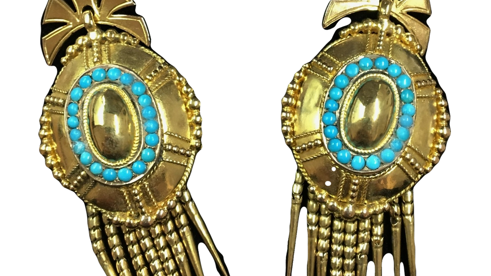 15ct Yellow Gold Turquoise Earrings