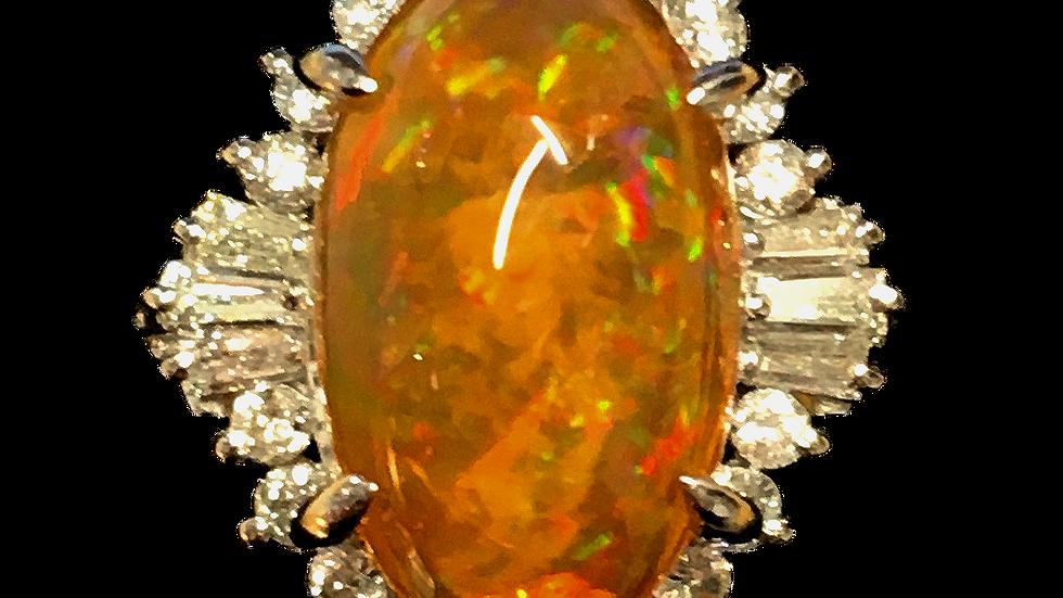 Platinum Fire Opal Ring