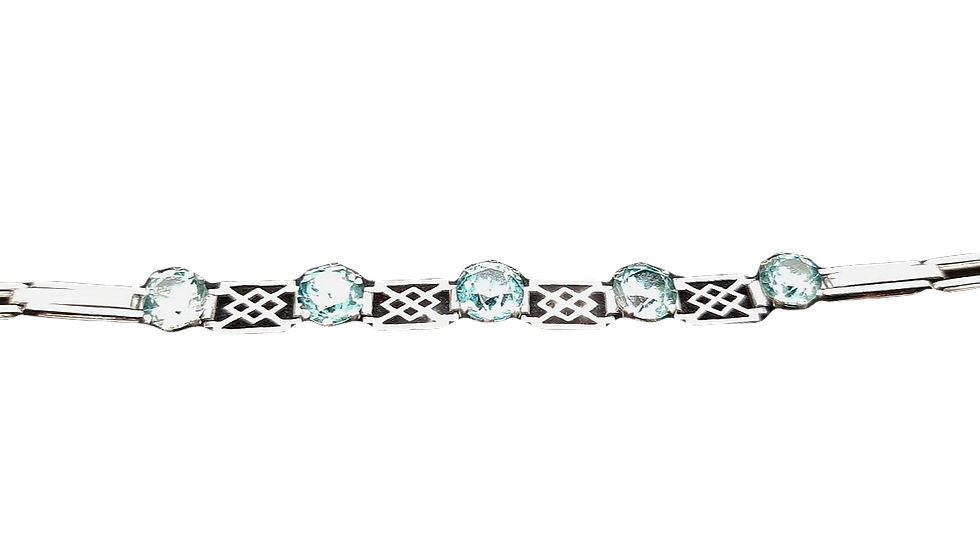 9ct White Gold Blue Zircon Bracelet