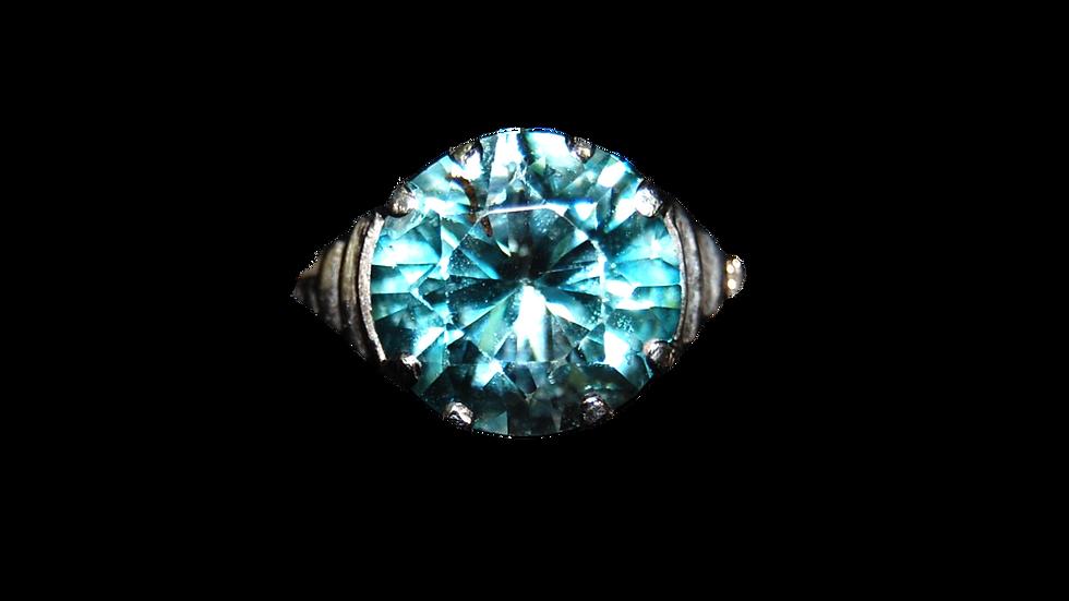 9ct White Gold Blue Zircon Ring