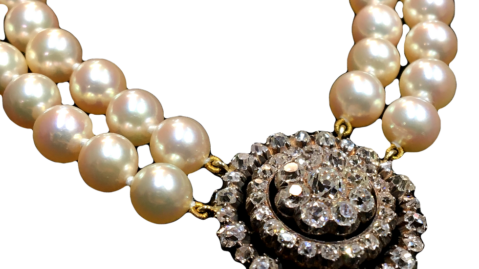 18ct Yellow Gold Cultured Pearls & Diamonds