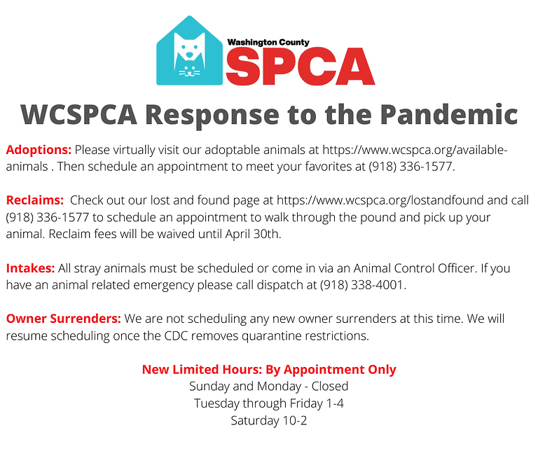 WCSPCA Response to the Pandemic Updated.