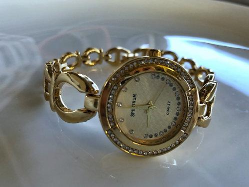 Taşlı Altın Kaplama Saat