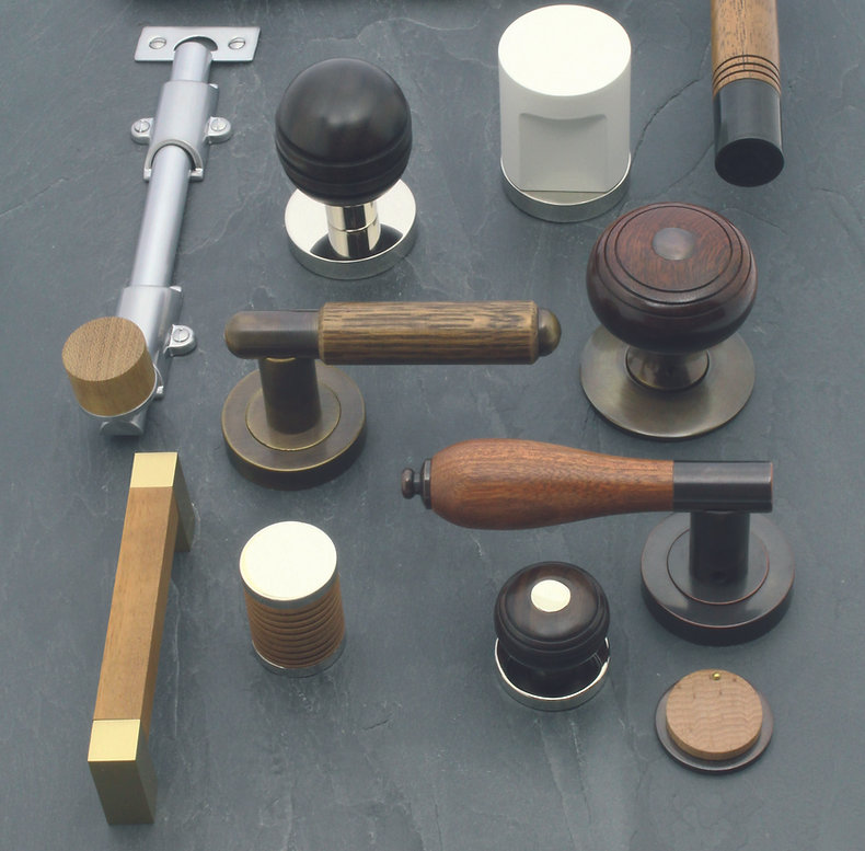Arbor wood and brass architectural ironmongery.