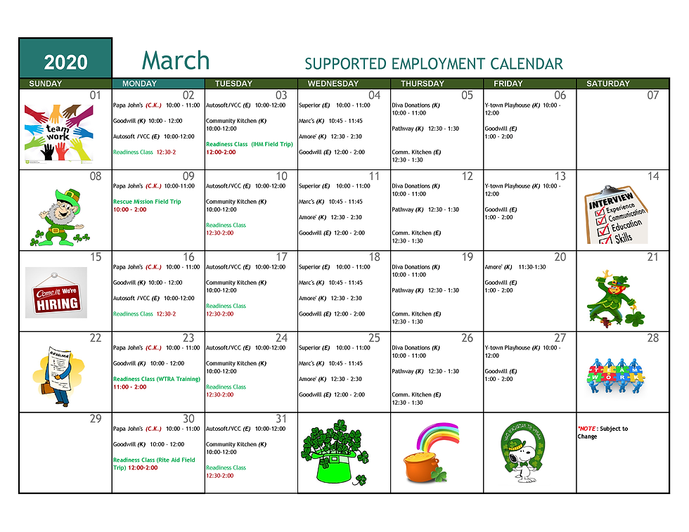 March 2020 Supported Employment Calendar