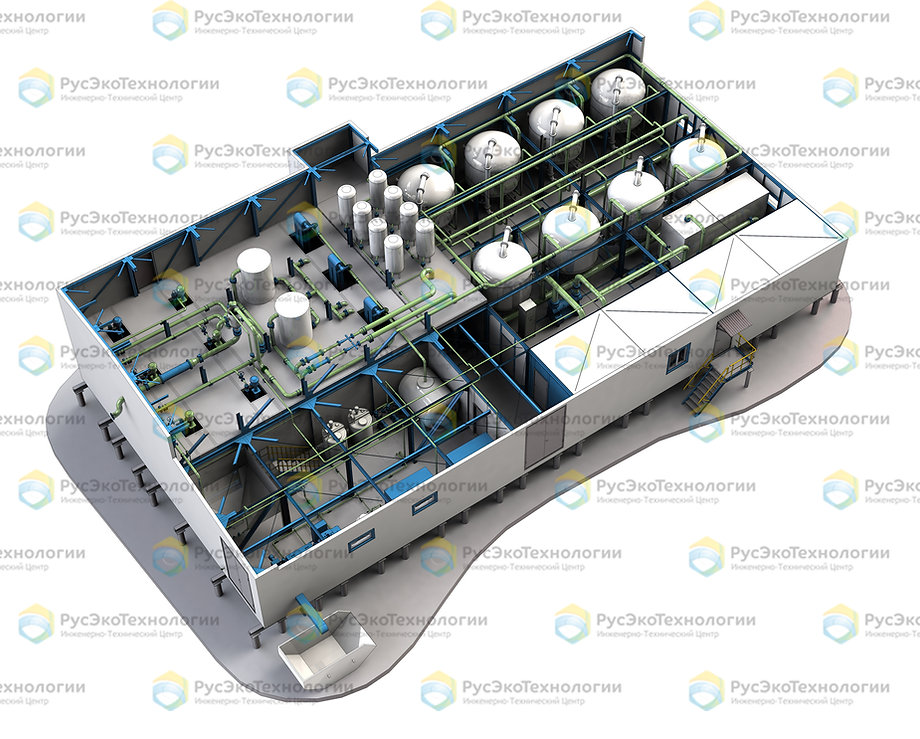 Пример блочно-модульной станции ОС-Л на производительность 250 м3/ч, выполненный для условий крайнего севера
