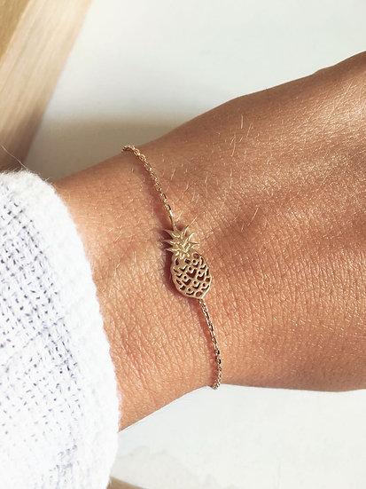 Bracelet ananas - Plaqué or 750/000