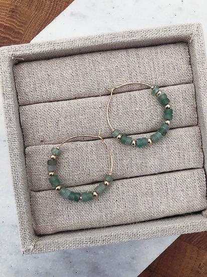 Boucles d'oreilles plaqué or et quartzite vert