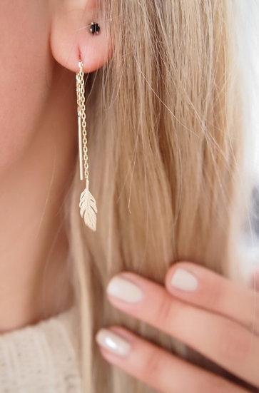 Boucles d'oreilles feuille - Plaqué or