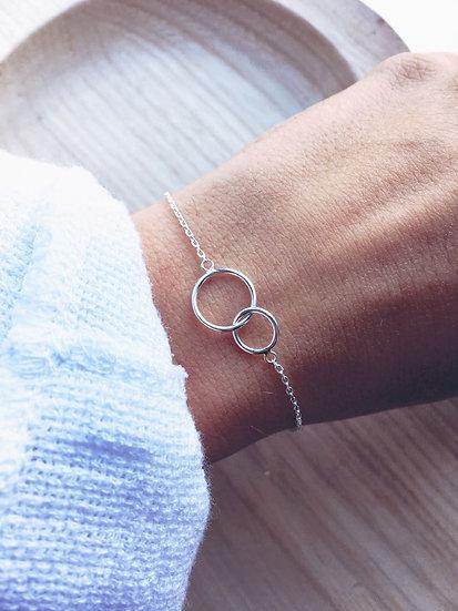 Bracelet deux cercles entrelacés - argent 925/000