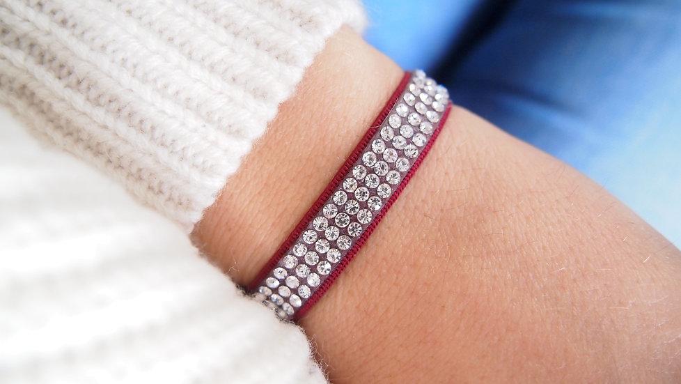 Bracelet strass bordeaux