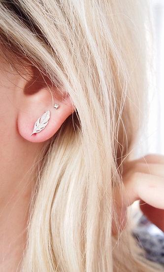 Boucles d'oreilles plumes - argent 925