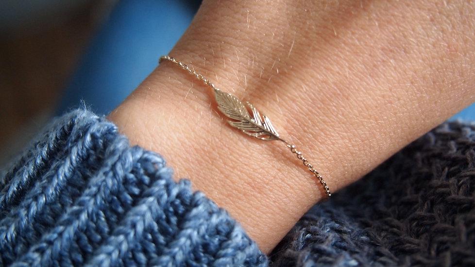 Bracelet feuille plaque or