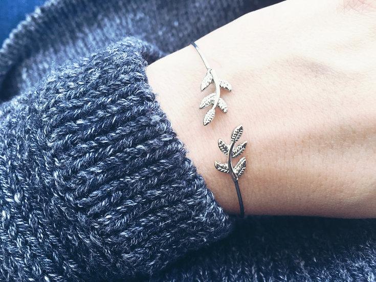 Bracelet, jonc laurier coloris argenté