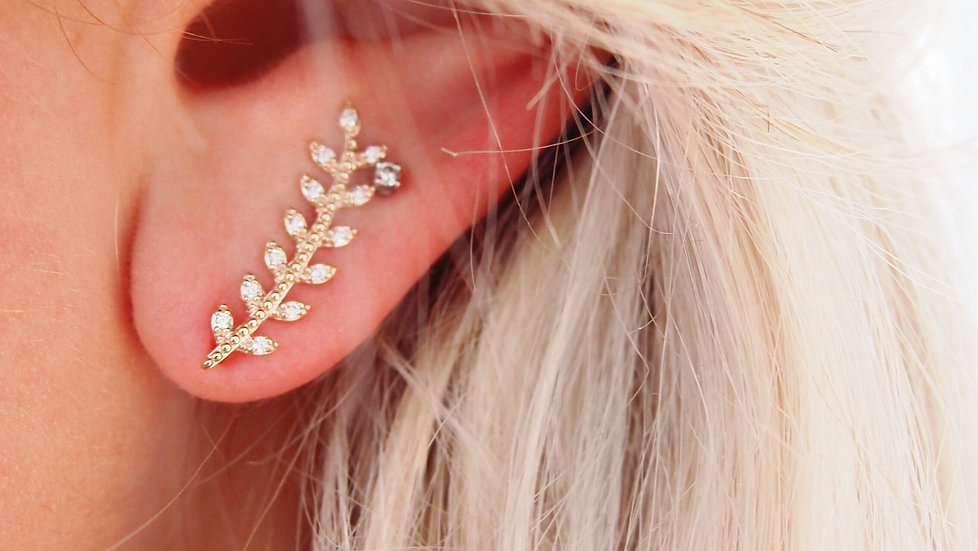 Bijou d'oreille feuille de laurier zircon - plaqué or