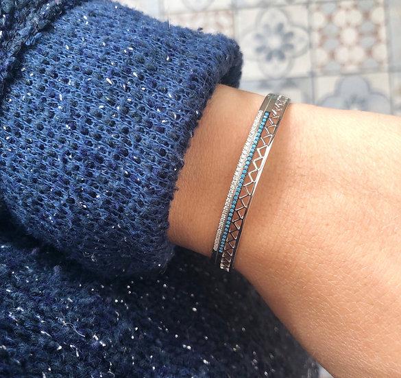 Jonc bleu - argent 925