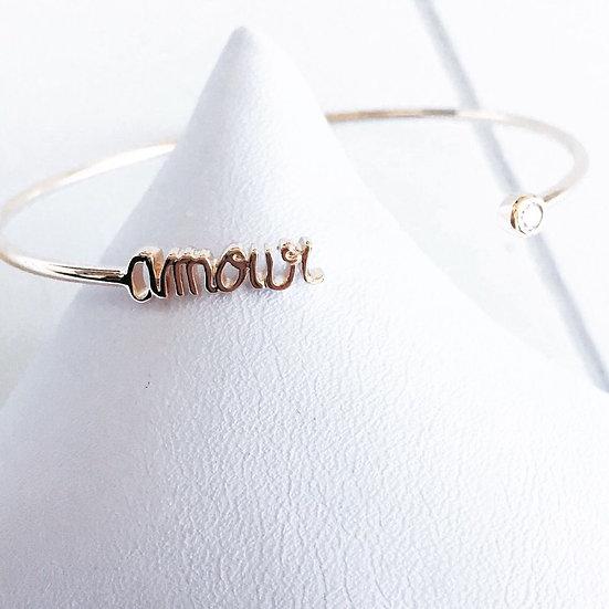 Jonc amour - plaqué or 750