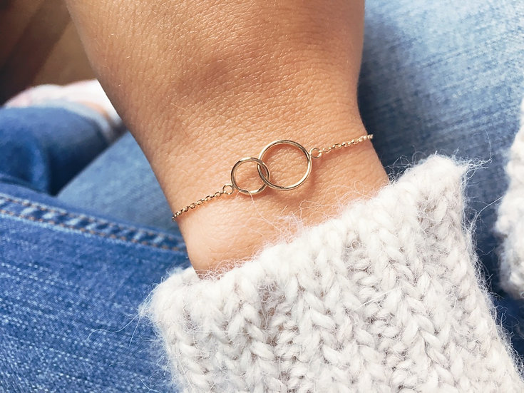 Bracelet double cercle - Plaqué or 750/000