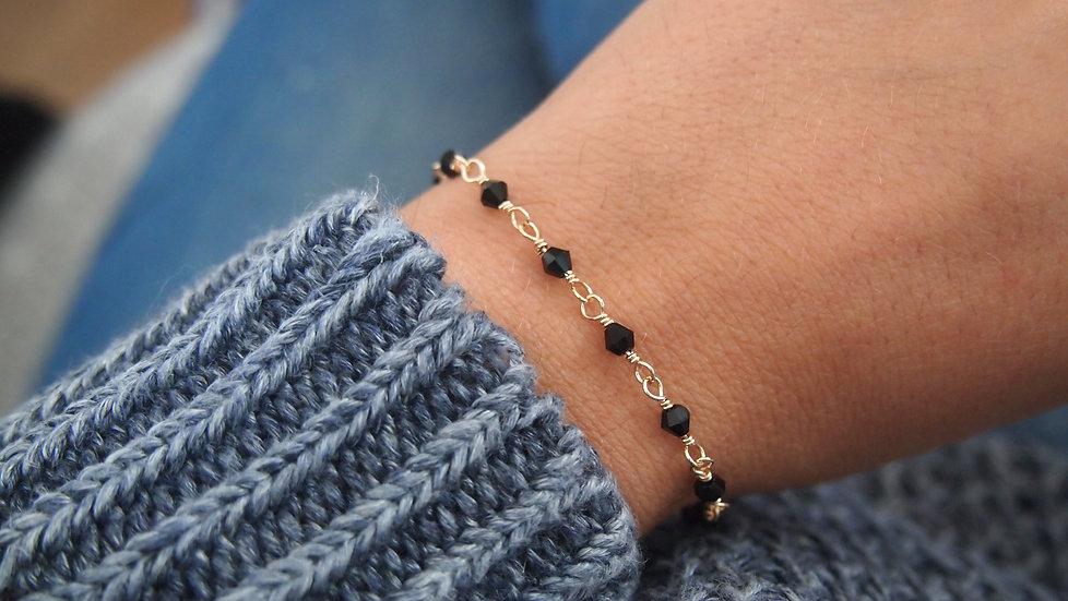 Bracelet de perles plaque or
