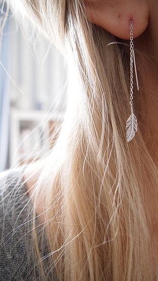 Boucles d'oreilles feuilles - Argent 925