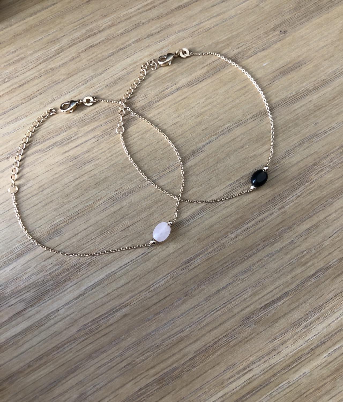 Thumbnail: Bracelet agathe ou quartz Plaqué or