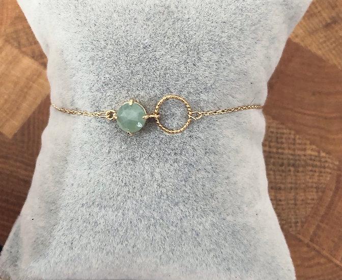 Bracelet fantaisie et perle vert d'eau