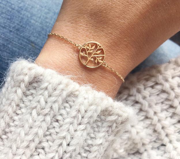 Bracelet arbre de vie plaque or