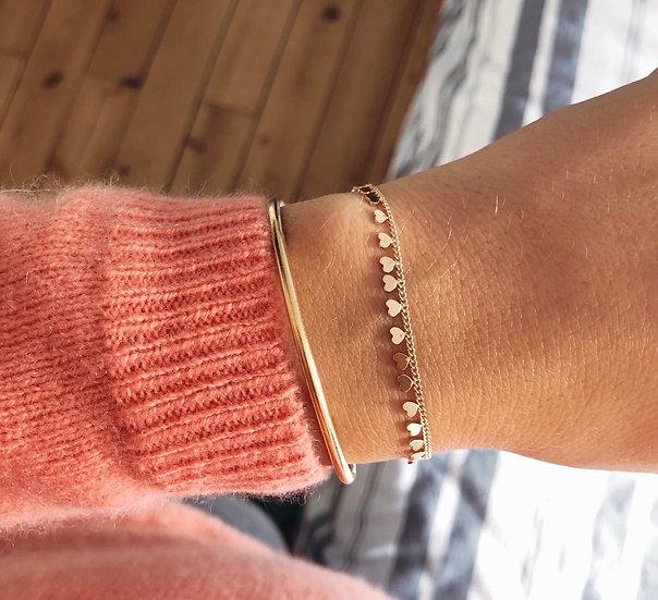 Bracelet coeur - plaqué or 750