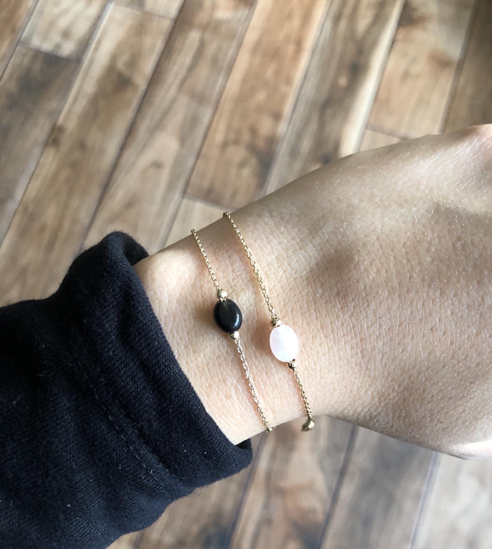 Bracelet agathe ou quartz Plaqué or