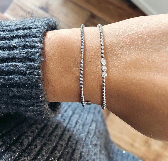 Bracelet hematite et argent 925