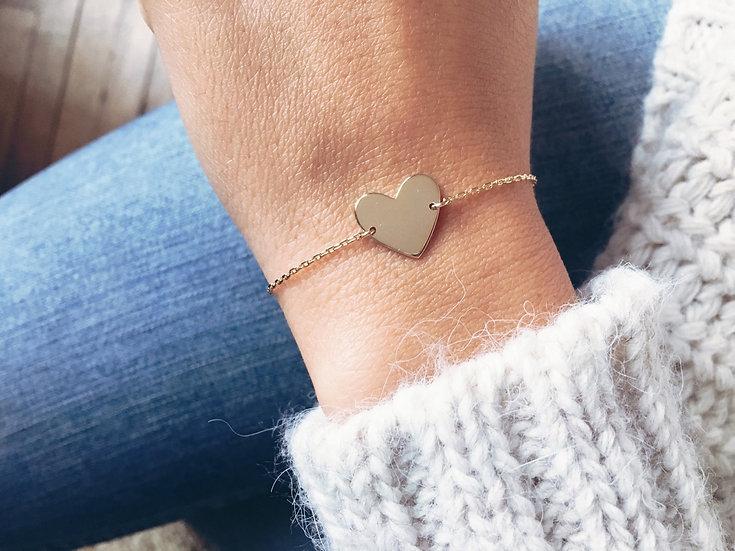 Bracelet cœur plaque or