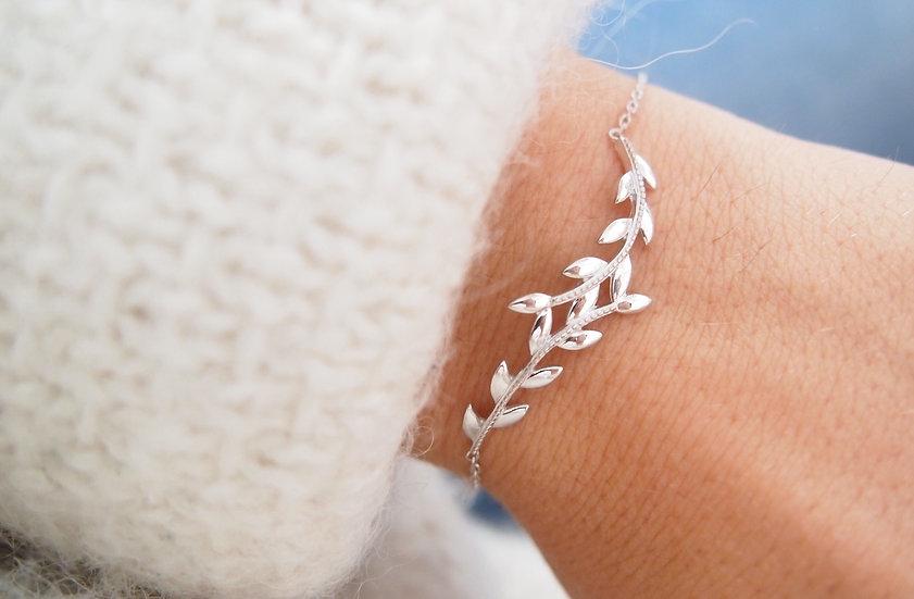 Bracelet feuille de Laurier en Argent