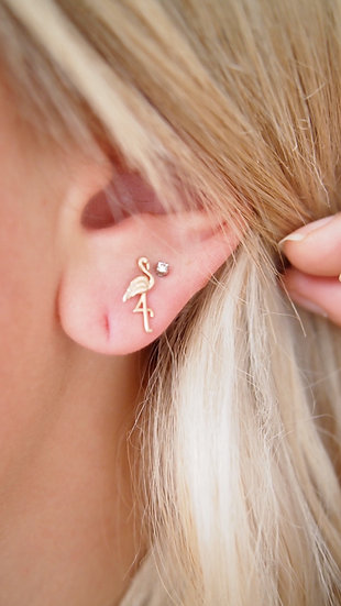 Boucles d'oreilles flamand rose - plaqué or