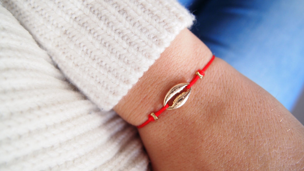 Bracelet coquillage - rouge