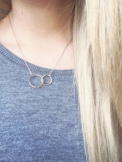 Collier deux cercles - Plaqué or 750
