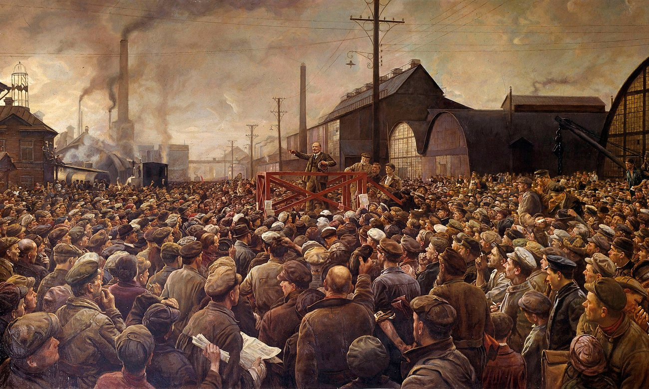 lenin speaking to crowds brodsky 1917.jp