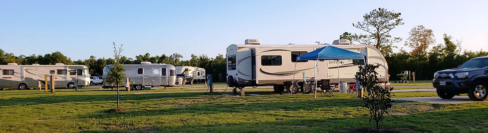 Full hookup RV camping sites with concrete parking pads