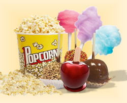 Popcorn, cotton candy and caramel apples