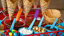 Ice cream toppings and cones