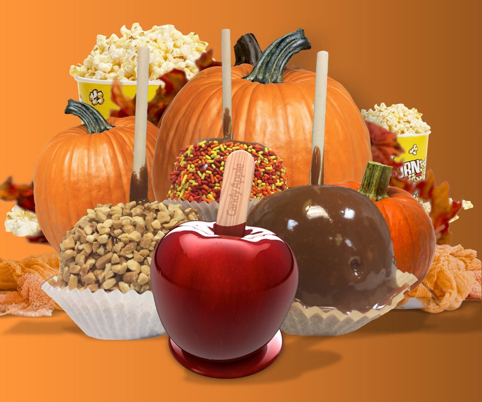 Pumpkins, candy apples and popcorn