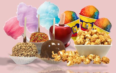 Variety of candy apples