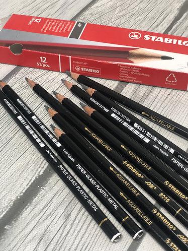 Stabilo Aquarellable Pencil Black (1ct)