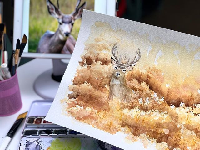 I was inspired to paint a beautiful buck