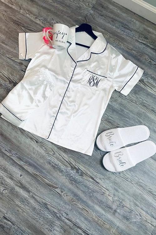White with black lining PJ Set