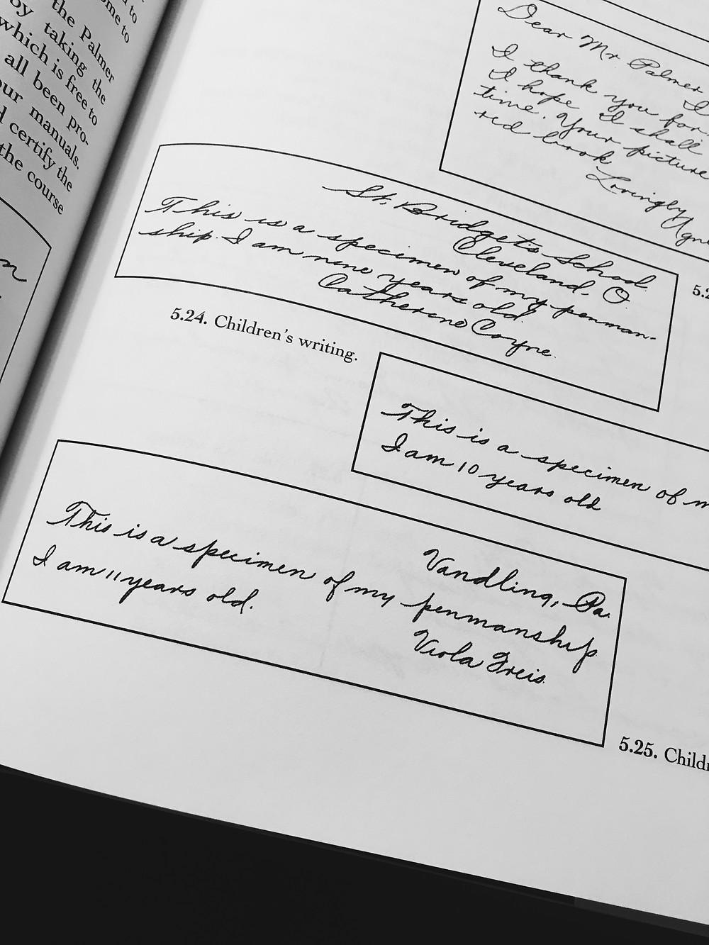 Excerpt of Children's handwriting from An Elegant Hand