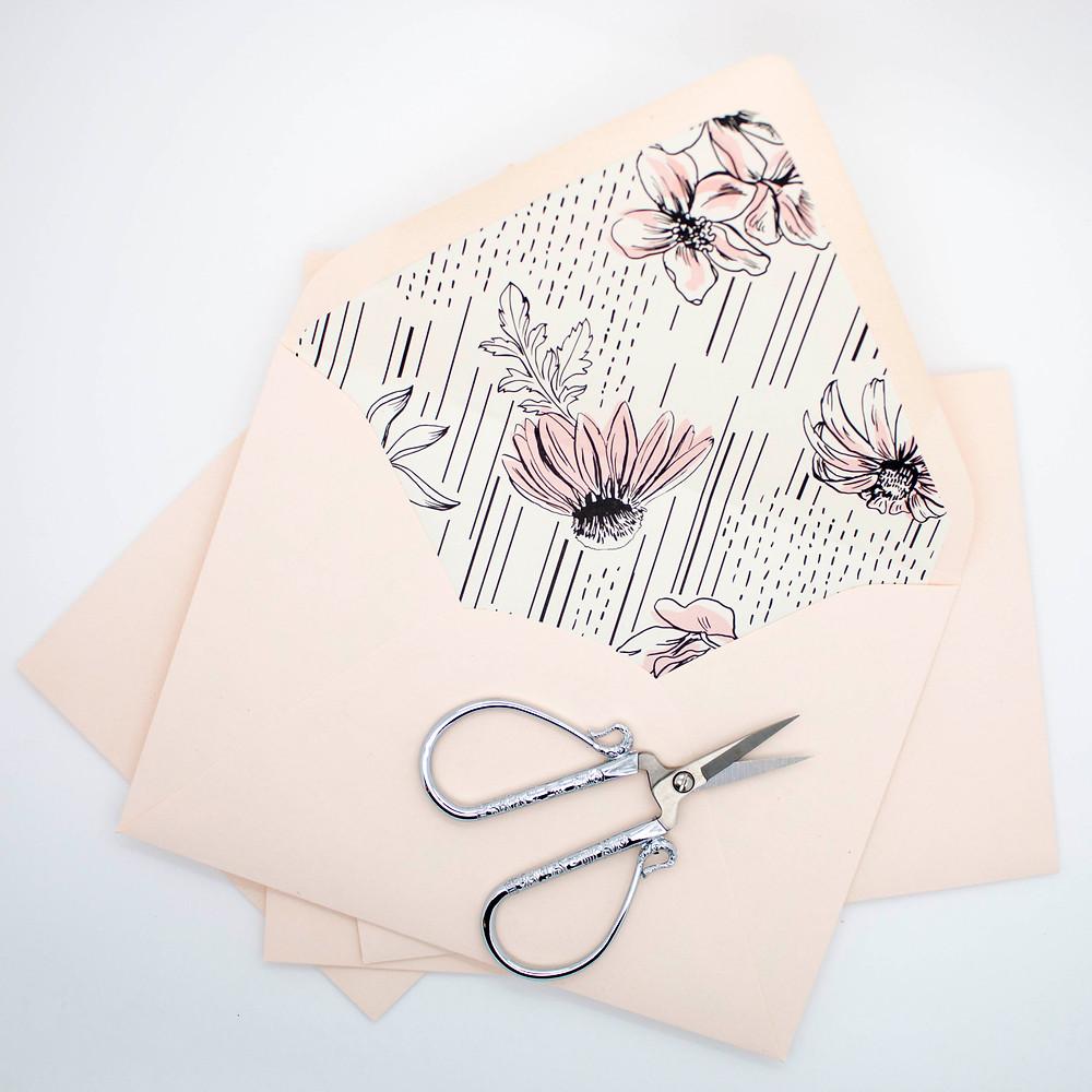 Handmade Envelope Liner with Blush Pink Envelopes
